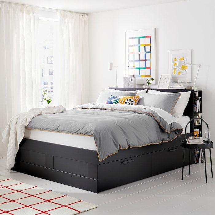 Ikea Brimnes Black Leirsund Bed Frame With Storage Headboard