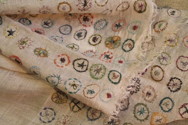 sophie digard... light linen embroidered scarf...she does some incredible scarfs, embroidered or crocheted.