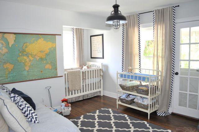 Love this nursery...more pictures on her blogCurtains, Lights Fixtures, Baby Boys Nurseries, Vintage Maps, Modern Nurseries, Boy Nurseries, Vintage Modern, Nurseries Ideas, Room