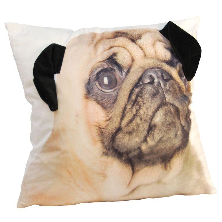 This adorable pug toss cushion has wobbly ears..  17 x 17