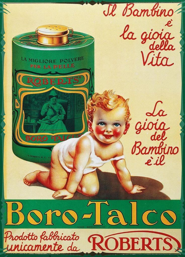 Borotalco Roberts - Pubblicità del 1934. http://www.thebeautypost.it/2013/07/18/credi-alla-polvere-e-borotalco/