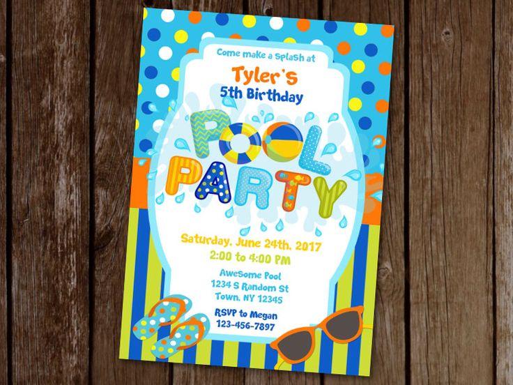Blue Pool Party Invitation, Boy Pool Party Invitation, Waterpark Birthday Invite, Birthday Pool Party Invite, Swimming Birthday Invitation by PoppyInWonderlandArt on Etsy https://www.etsy.com/listing/497545118/blue-pool-party-invitation-boy-pool
