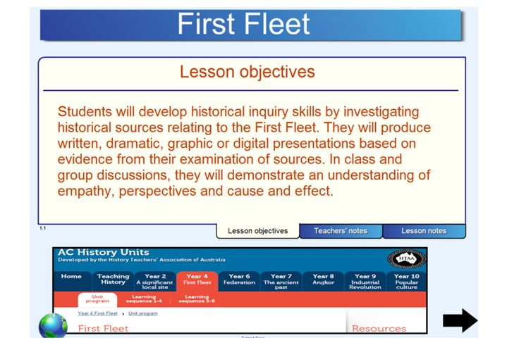 """This terrific IWB resource has been designed to support the teaching of the Unit of Work """"First Fleet"""""""" developed by the History Teachers' Association of Australia. Students will develop historical inquiry skills by investigating historical sources relating to the First Fleet. Students examine primary and secondary historical sources to develop an understanding of the First Fleet. http://schools.interactivelessons.com.au/"""