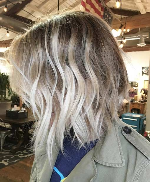Ice Blonde Balayage Messy Bob Haircut