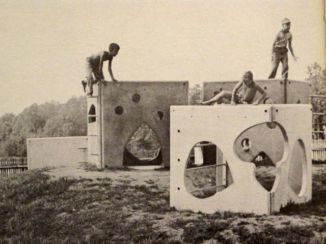 """Fantastic Village"" consisted of 5 concrete and steel units / Creative Playthings catalog from 1956."