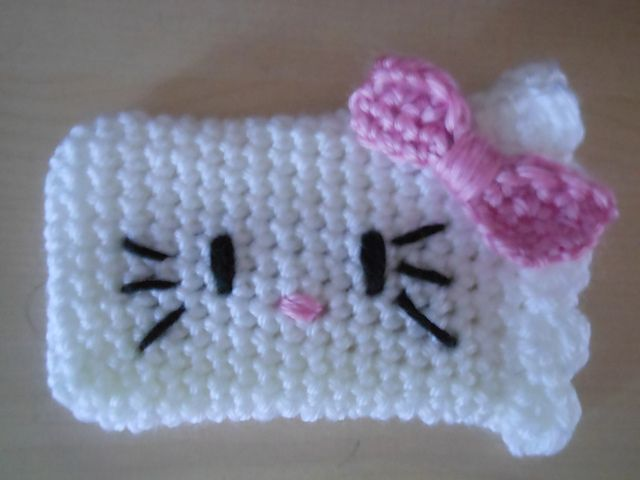 Ravelry: Hello Kitty Cell Phone Cozy pattern by Janet Carrillo: Cozy Crochet, Crochet Gifts, Cell Phones, Phones Cases, Kitty Cell, Phones Cozy, Free Patterns, Crochet Patterns, Hello Kitty