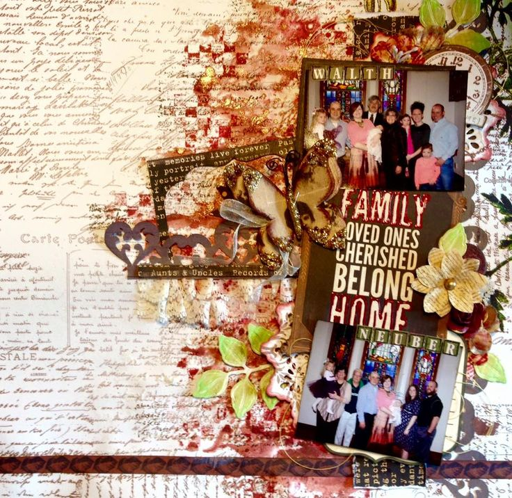 Scraps Of Darkness Scrapbook kits - one of our subscibers Jennifer Neuber Walth created this amazing mixed media family layout in Fall / Autumn colors, using the August 'Kathy's Nature Walk' kit.  You can find our kits at www.scrapsofdarkness.com