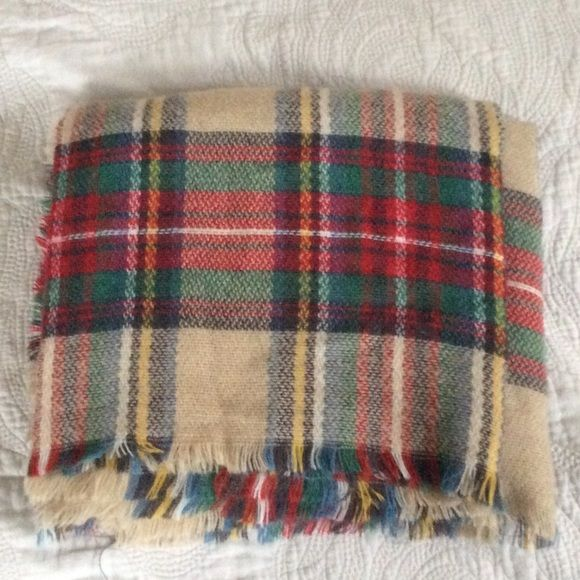 "Marley Lily Tan Plaid Blanket Scarf The scarf has tan, red, blue, white, yellow, and green in it. The measurements are 57x51"". This has only been worn a few times and is in good condition. Marley Lily Accessories Scarves & Wraps"