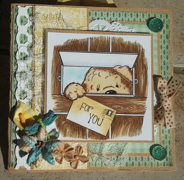 Challenge 24 - You've got mail - Cuddly Buddly Toby Tumble You've got mail digi stamp coloured with Copics and distress inks, Martha Stewart border punch, doily