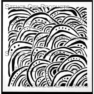 Stencil artist Terri Stegmiller was inspired by the appearance of overlapping waves washing up on a sandy beach or patterned scales of fungus on tree trunks. Perfect for adding backgrounds or texture to art journaling, mixed media artwork, and more! $7.00
