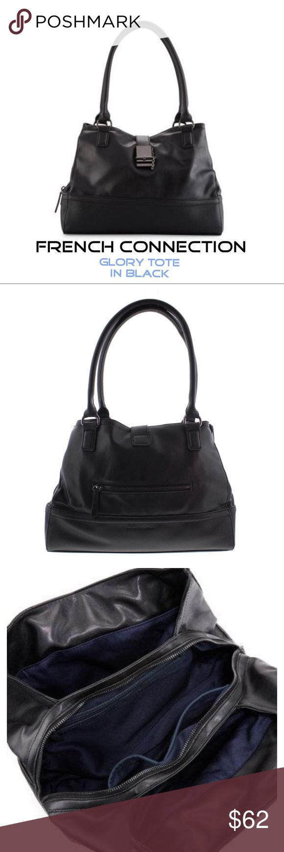 "FRENCH CONNECTION ✨Black 'Glory' Tote NWT✨ Gorgeous functional bag by French Connection, 'Glory' style. MSRP $118, Black. Features-2 rolled top handles, gunmetal & black hardware, black exterior stitching, flat bottom, faux leather, smooth and contrast saffiano, approx 8.5"" handle drop, 10.25"" Hx 13.25""Wx 4.75"" D. Back exterior zip pocket. 3 main compartments, 2 on out side are open, middle has zipper w/ add'l zipper pocket and 2 others. Twill interior lining. All in original wrapping w…"