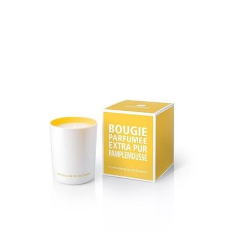 Compagnie De Provence Summer Grapefruit Candle: Presented in a white outer glass and yellow interior, this Summer Grapefruit Candle from French brand Compagnie de Provence will bring a touch of light and color into your home, in a minimalist and contemporary style. With fresh and sunny fragrance of grapefruit, it is concocted with a blend of mineral and vegetable waxes for optimum fragrance diffusion.