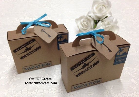 Suitcase Favor Box Suitcase Favor Boxes Suitcase Favor Travel Favor Destination Wedding Favor by Cut N Create. Please read the entire listing, including the dimensions, before purchasing.The embellishments are printed directly onto the suitcases, they are not added separately. Use this adorable suitcase-shaped favour for destination weddings, corporate events, business cards, to package a gift or as a unique place card. Remember its the little details that make a big impact! This listing…