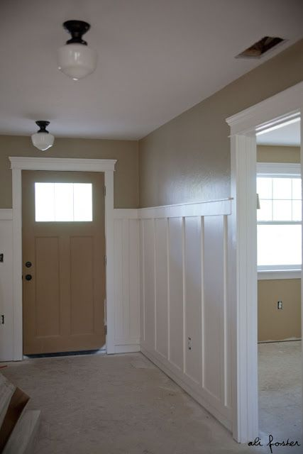 """Sherwin Williams """"relaxed khaki""""~~ paint color in my kitchen/family room. Love the light fixtures as well"""
