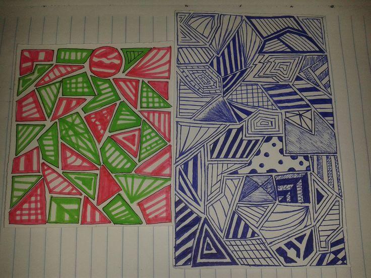 desenho rosa e verde: 16/09/15 desenho azul:01/10/15