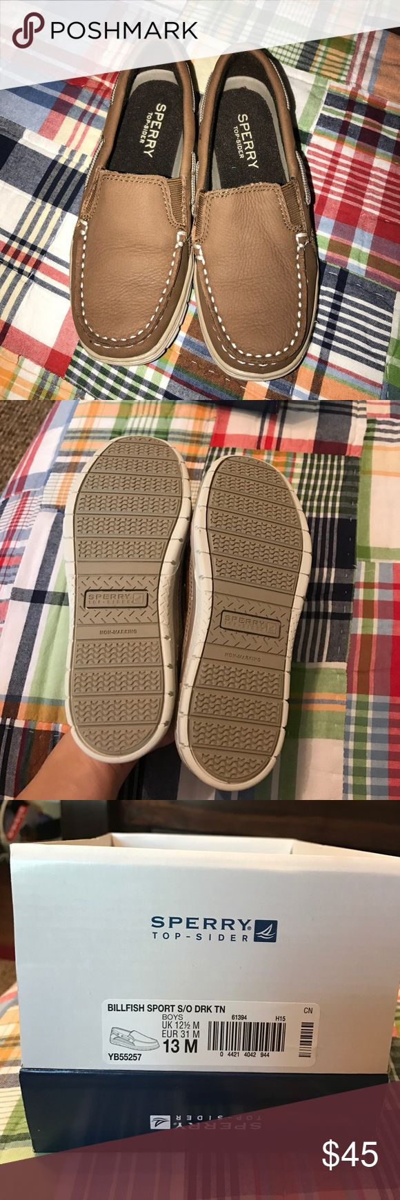 Sperry Billfish Sport Shoes Boys Sperry Billfish Shoes. Brand new, never worn. My son outgrew them before he could wear them! So cute and perfect for spring and summer. Can be worn dressy or casual. Can ship in the box. Sperry Shoes