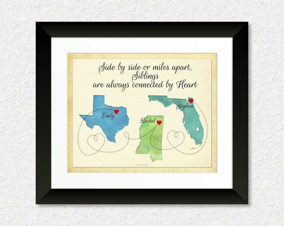 Long Distance Gift for Siblings, Brother, Sister, Custom Sibling Gift, Moving Away Gift for Sibling, Long Distance Gift, Three State Map