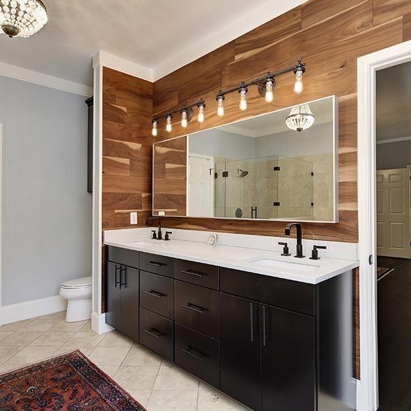 Natural Acacia Walling Walling Wood Panel Bathroom Bathroom Mirror