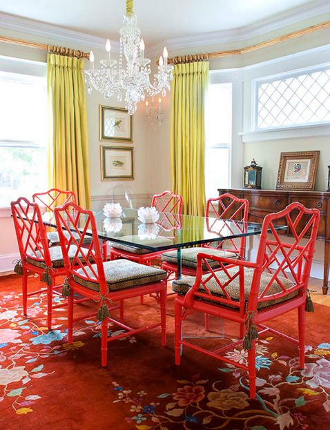Fiery Orange Red Chinese Chippendale Chairs And Citron Chartreuse Drapery Panels Pop Subtle Glass Table Does Not Overwhelm The Other Vibrant Colors