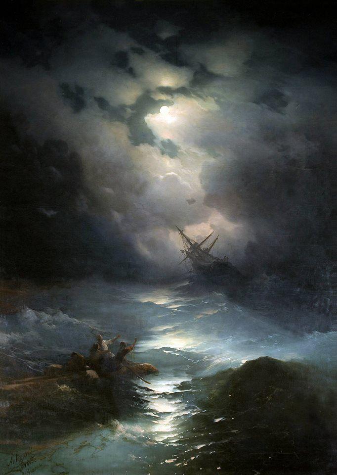 """Ivan Konstantinovič Ajvazovskij (1817-1900).  """"Северное море шторм/North Sea storm"""" (1865). Oil on canvas, 267 x 196 cm. Feodosiya (Ukraine), Ajvazovskij Gallery"""