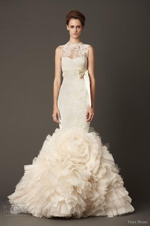 vera wang fall 2013 wedding dress sleeveless mermaid gown lace overlay
