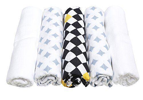 Spucktücher, Stoffwindeln, Mullwindeln - (5er Set) 70x80 cm, Öko-Tex Standard 100, 100% naturreine Baumwolle, dunkelblau/gelb