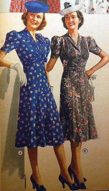 Fashion 1940s Two Female Models Flirty 40s Style Evening: 391 Best Moda Lat 40. I 50.