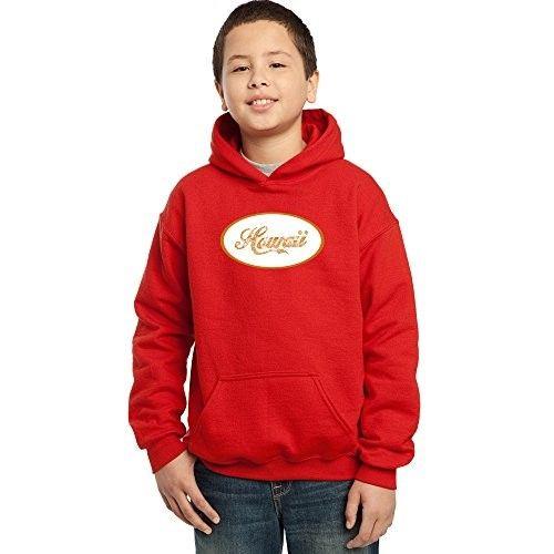 Los Angeles Pop Art Boy's Hoodies - Hawaiian Island Names & Imagery, Size: Medium, Red