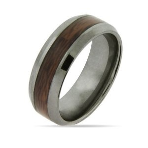 Tungsten with wood inlay men's wedding band