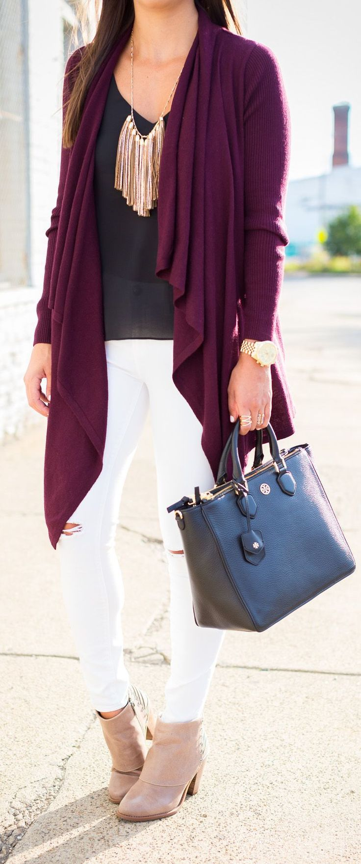 open front cardigan outfit - Buscar con Google