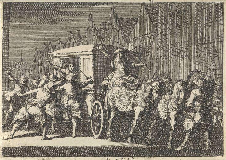Jan Luyken | Te Parijs wordt bij nacht de koets van hertog De Beaufort aangevallen, 1650, Jan Luyken, Pieter van der Aa (I), 1698 |