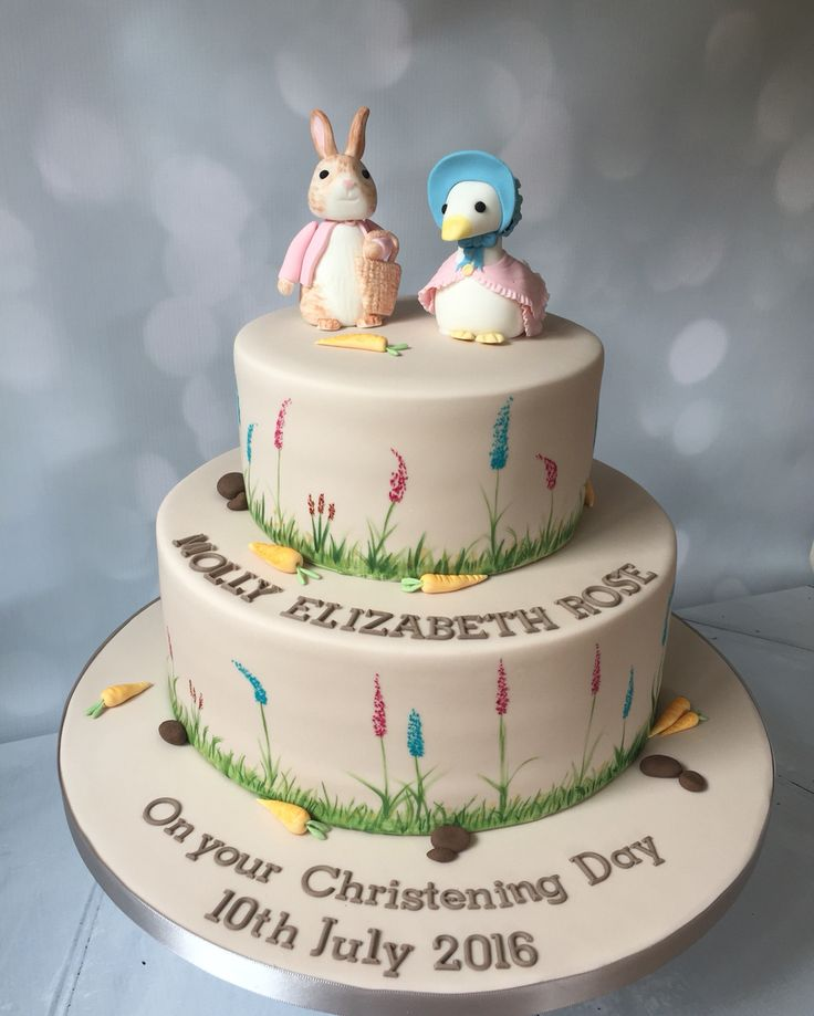 Beatrix Potter christening cake with Flopsy Bunny and Jemima Puddleduck