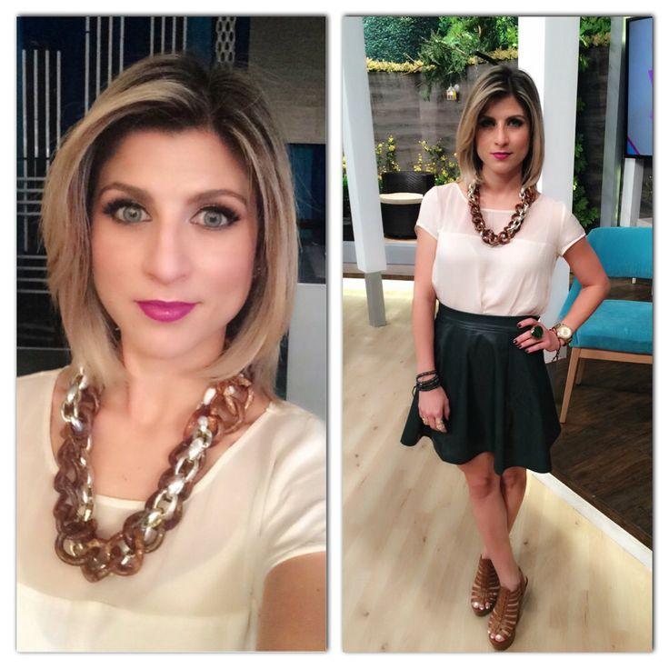 Green leather skirt