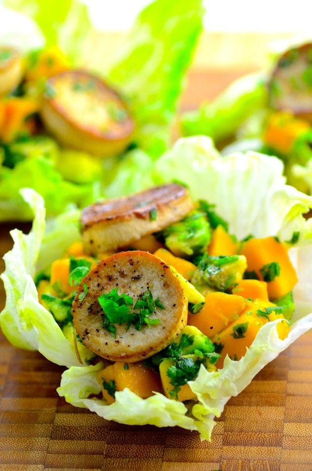 May I Have That Recipe   King Oyster Mushroom and Mango Avocado Salsa Cups   http://mayihavethatrecipe.com