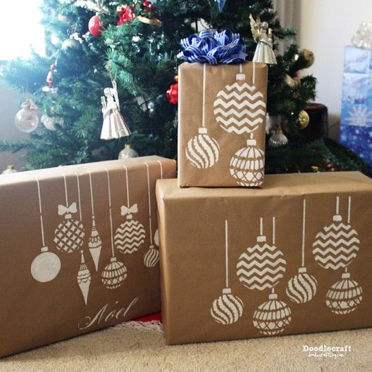 Stenciling DIY gift wrap using the Christmas Ornaments Craft Stencil from Cutting Edge Stencils.   http://www.cuttingedgestencils.com/diy-christmas-decor-craft-and-furniture-stencils.html?utm_source=JCG&utm_medium=Pinterest&utm_campaign=Christmas%20Ornaments%20Craft%20Stencil