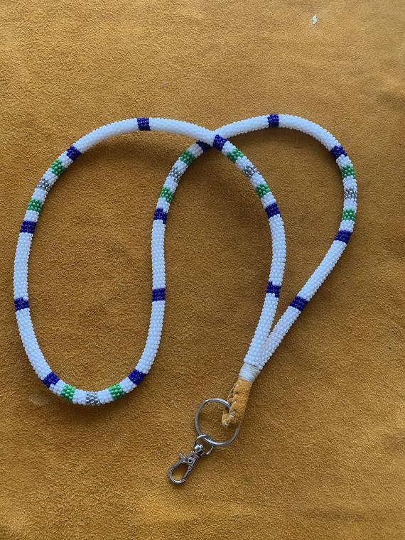 Native American style Beaded Lanyard Badge Holder Beaded Lanyard  ID Holder  Lanyard keychain  Teacher Lanyard  Unisex Lanyard