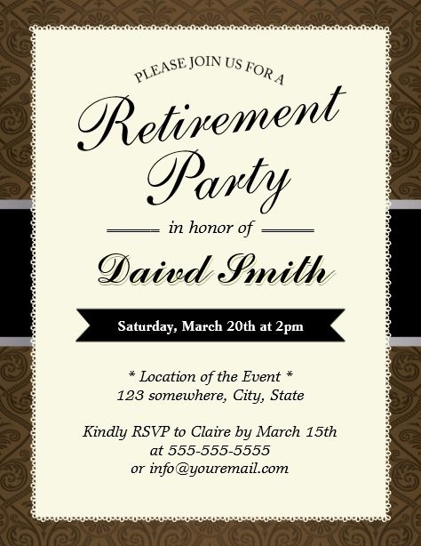 Classy Brown Damask Retirement Party Invitations Retirement Party