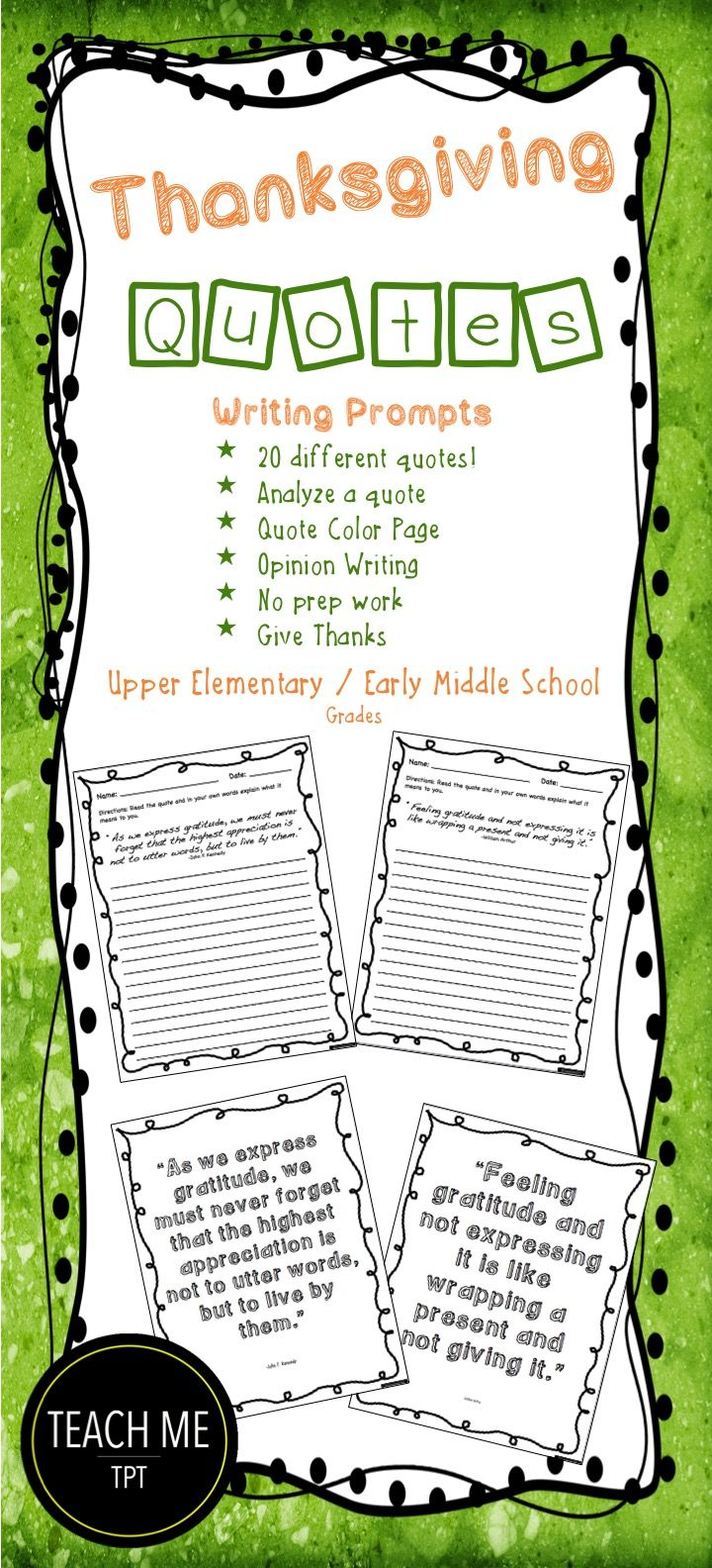 thanksgiving quotes writing prompts | teach me tpt | pinterest