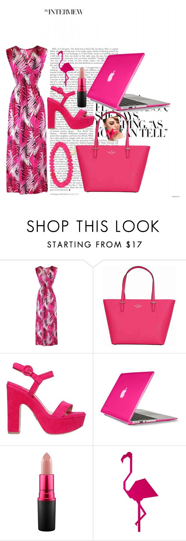 """all things pink"" by creativejenerator ❤ liked on Polyvore featuring Kate Spade, Paul Andrew, Speck, MAC Cosmetics and Sydney Evan"