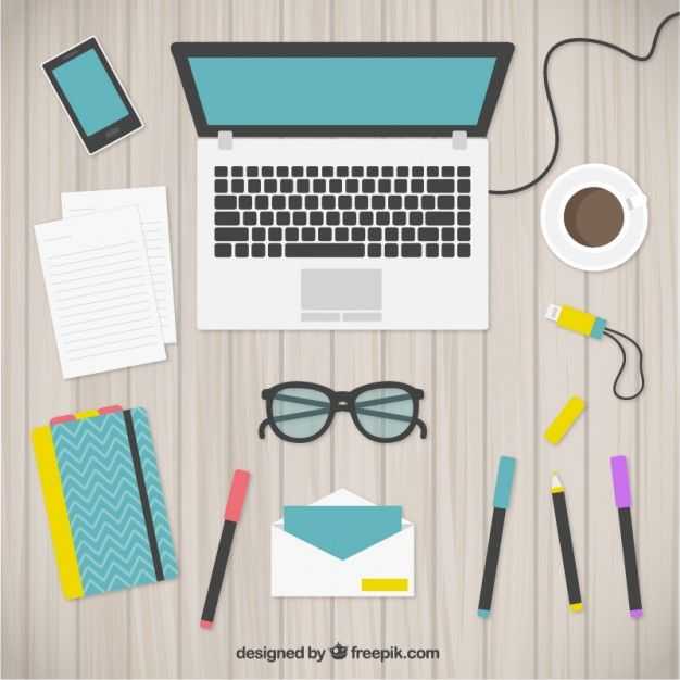 Cute workspace Free Vector