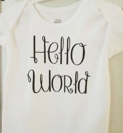 Hello World Bodysuit  Coming home Outfit  by ThePurpleLadybug1