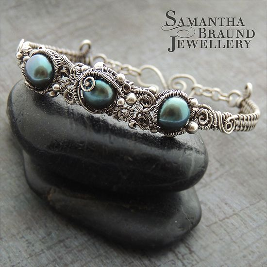 Turquoise Freshwater Pearl & Silver Barnacle Cuff by Samantha_Braund, via Flickr http://www.samanthabraundjewellery.com/