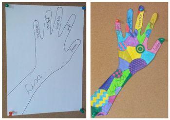 Alle leerlingen krijgen een A4tje en trekken daar de vorm van hun hand over. In…