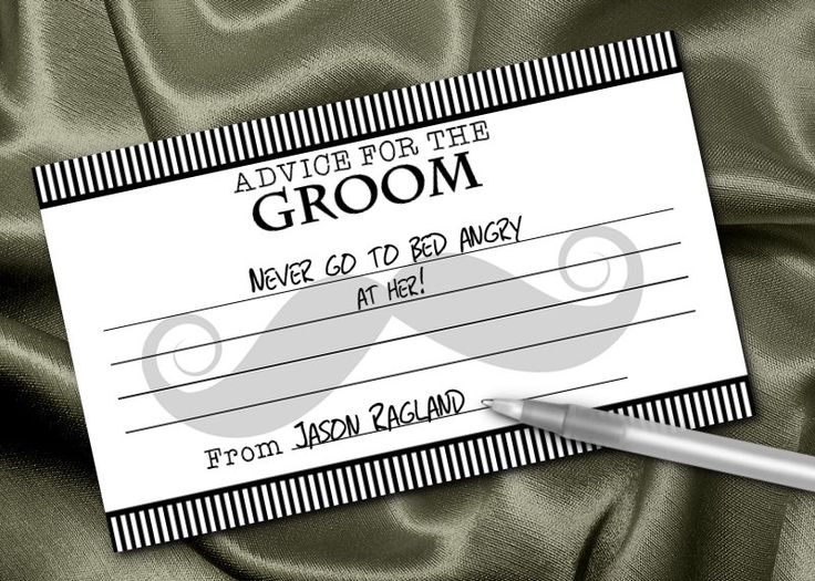 10 Groom Advice Cards, Wedding Advice, Bachelor Party Game, Couple Shower Game, Engagement Party Game, Moustache by NecessiTees on Etsy https://www.etsy.com/listing/223647452/10-groom-advice-cards-wedding-advice