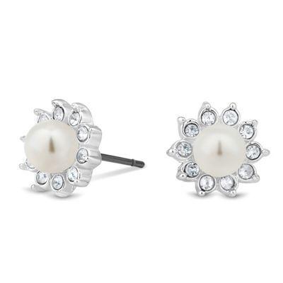 Jon Richard Mini crystal and pearl flower stud earring