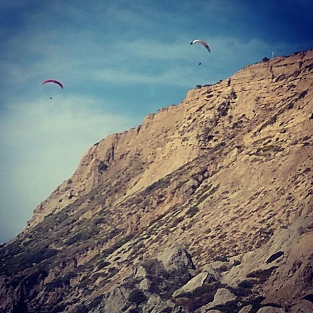 Paragliders soaring above me along the beach. The paragliders run towards the edge of the cliff and are picked up by the wind near the cliff's edge. Definitely will be doing this in the future!!! #adventurethursdays#breathtakingviews#wildflowers#socalbeaches#lajolla#torreypines#paragliding #lajollalocals #sandiegoconnection #sdlocals - posted by Shelly Robbins  https://www.instagram.com/shellyrobbins06. See more post on La Jolla at http://LaJollaLocals.com