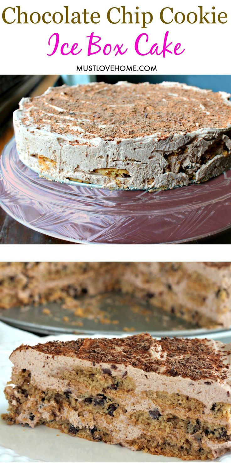 So yummy, Chocolate Chip Ice Box Cake is made in minutes, then chilled until set. Velvety whipped cream filling and crunchy cookies makes this no-bake cake the perfect dessert for all your special occasions. It's great for when you want a make-ahead dessert!