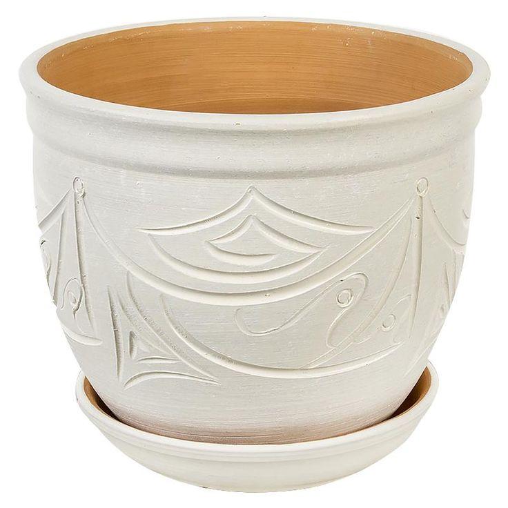 Горшок керамический с поддоном Узоры, диаметр 15,5 см, 2,4 л, цвет бежевый