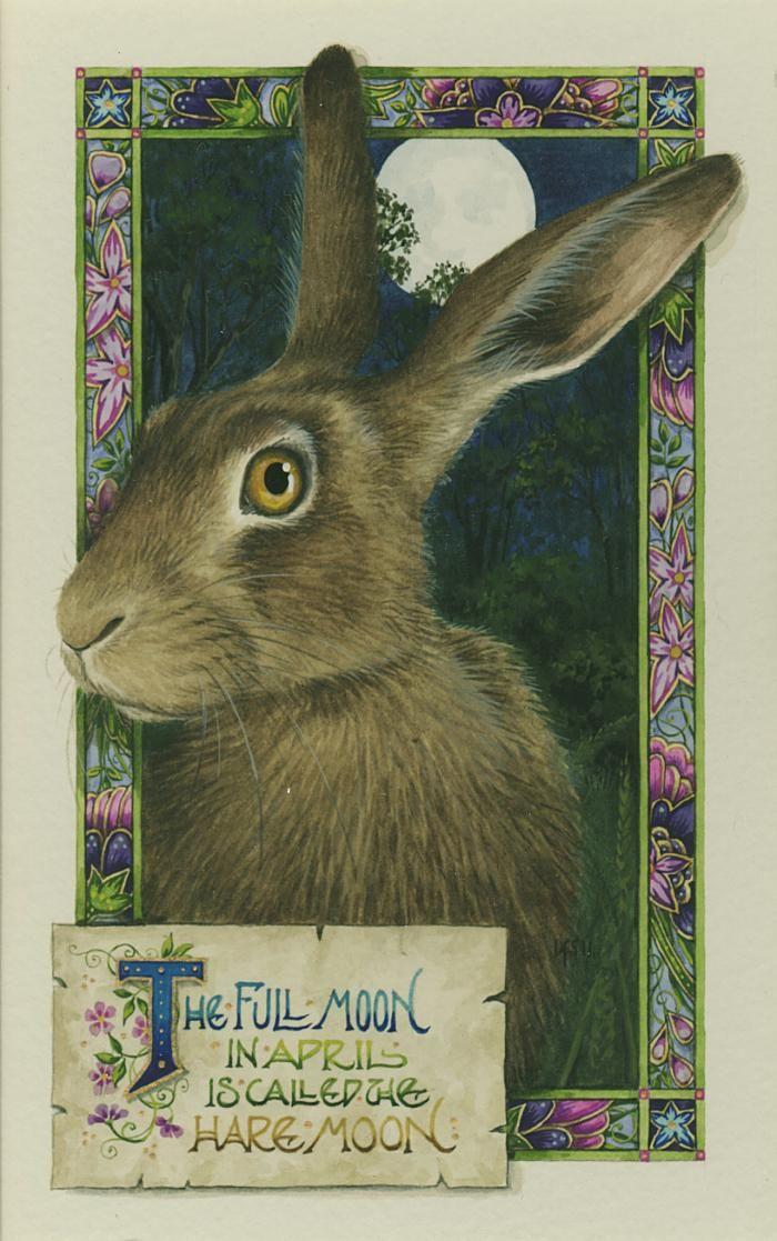 'The Hare Moon watercolour on paper http://www.bwthornton.co.uk/debby-faulkner-stevens.php