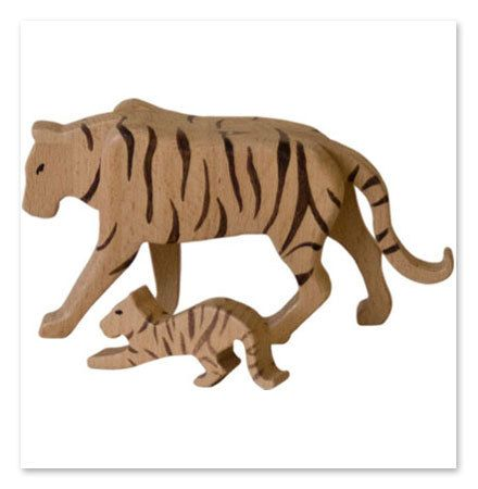 Handcrafted wooden  tiger natural organic wooden by woodenplay, $25.00